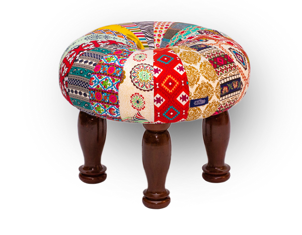 "26""x22"" Sheesham Royal Indian Umbrella Ottoman"