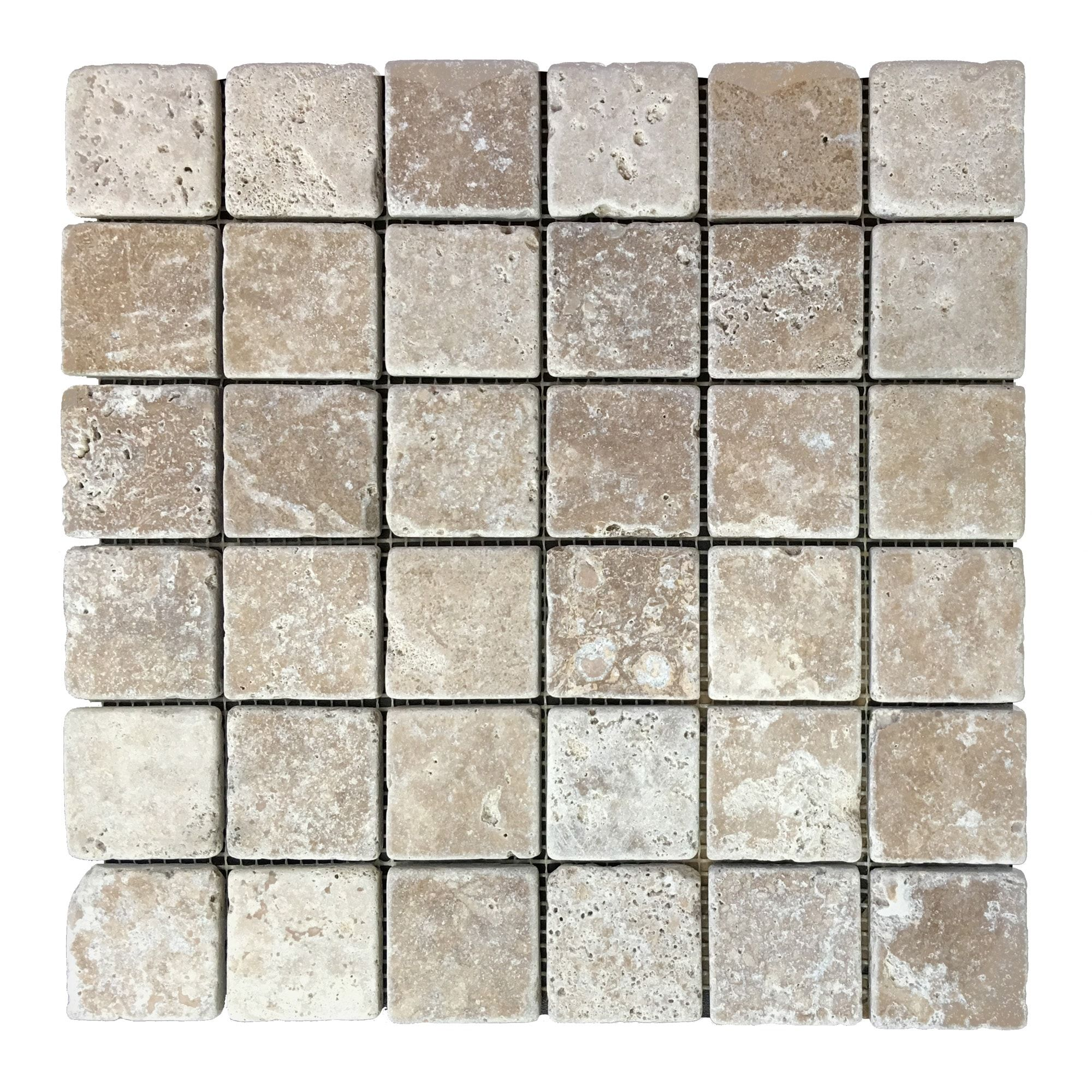 Travertine Noce Mosaic 2″ x 2″ Tiles