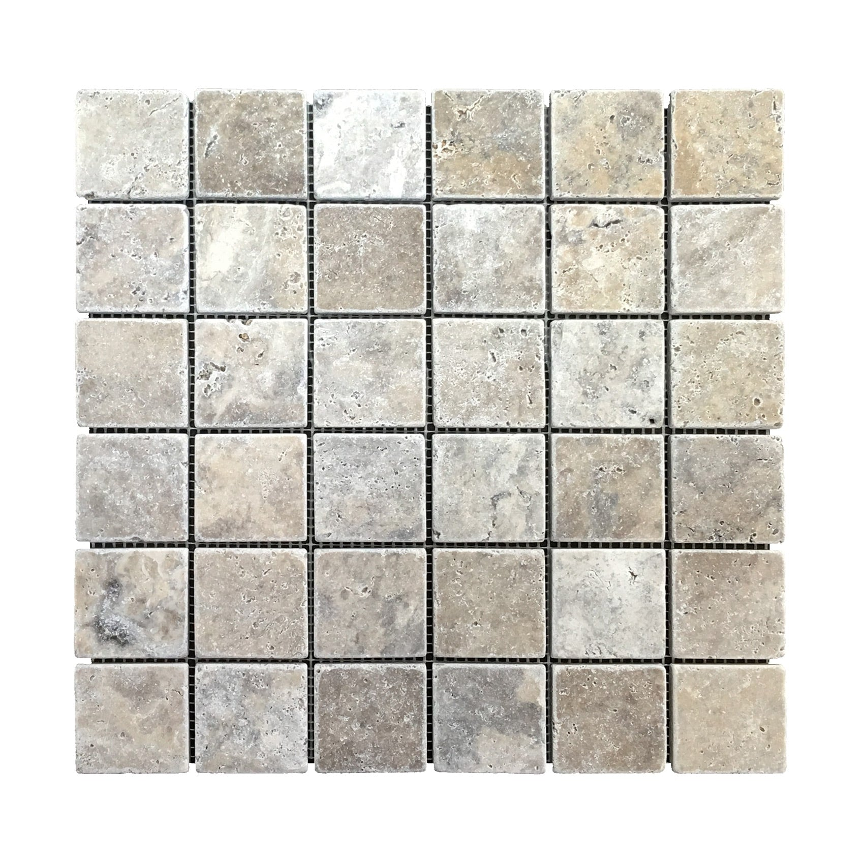 Travertine Silver Mosaic 2″ x 2″ Tiles