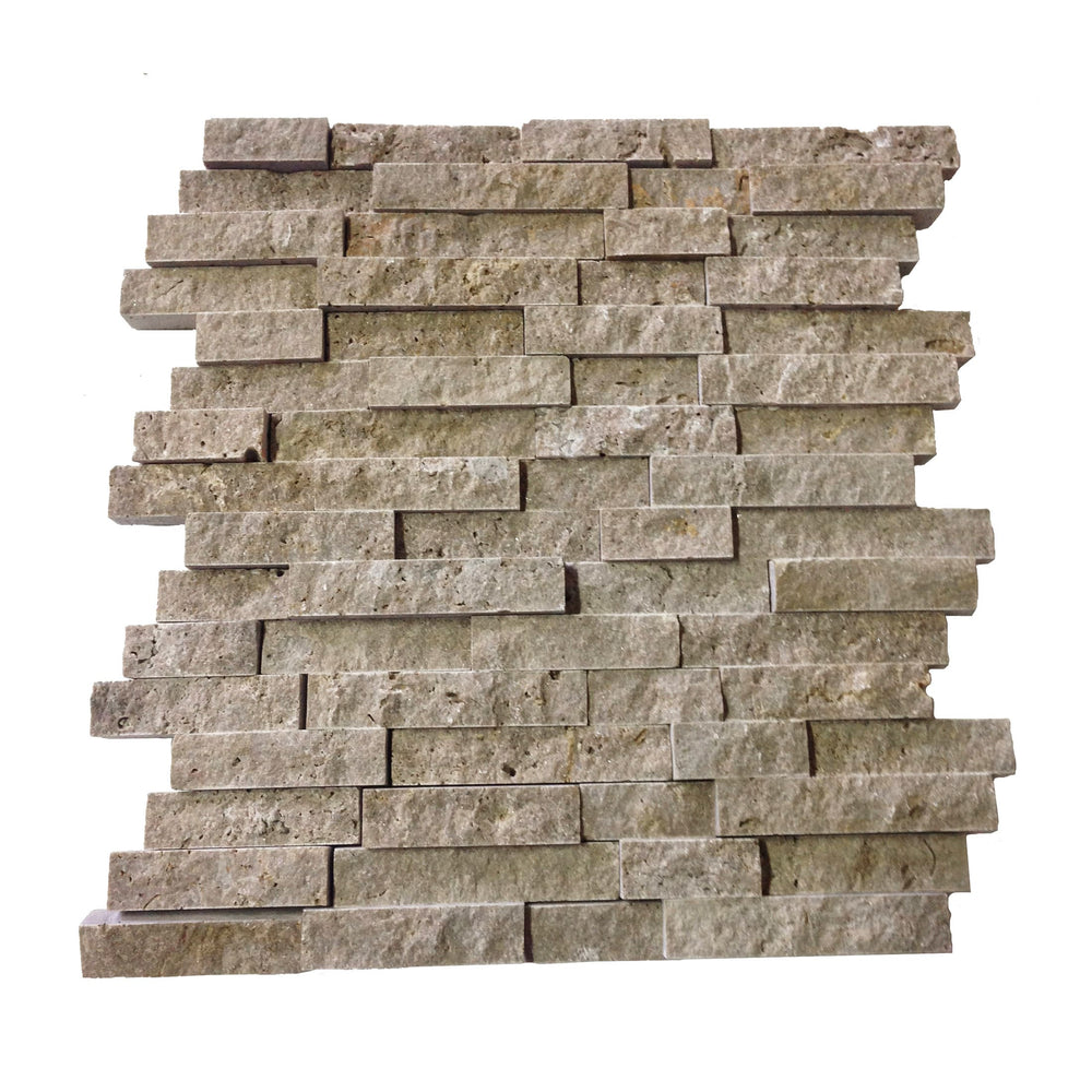 Elegance Noce Split-Face Travertine Mosaic