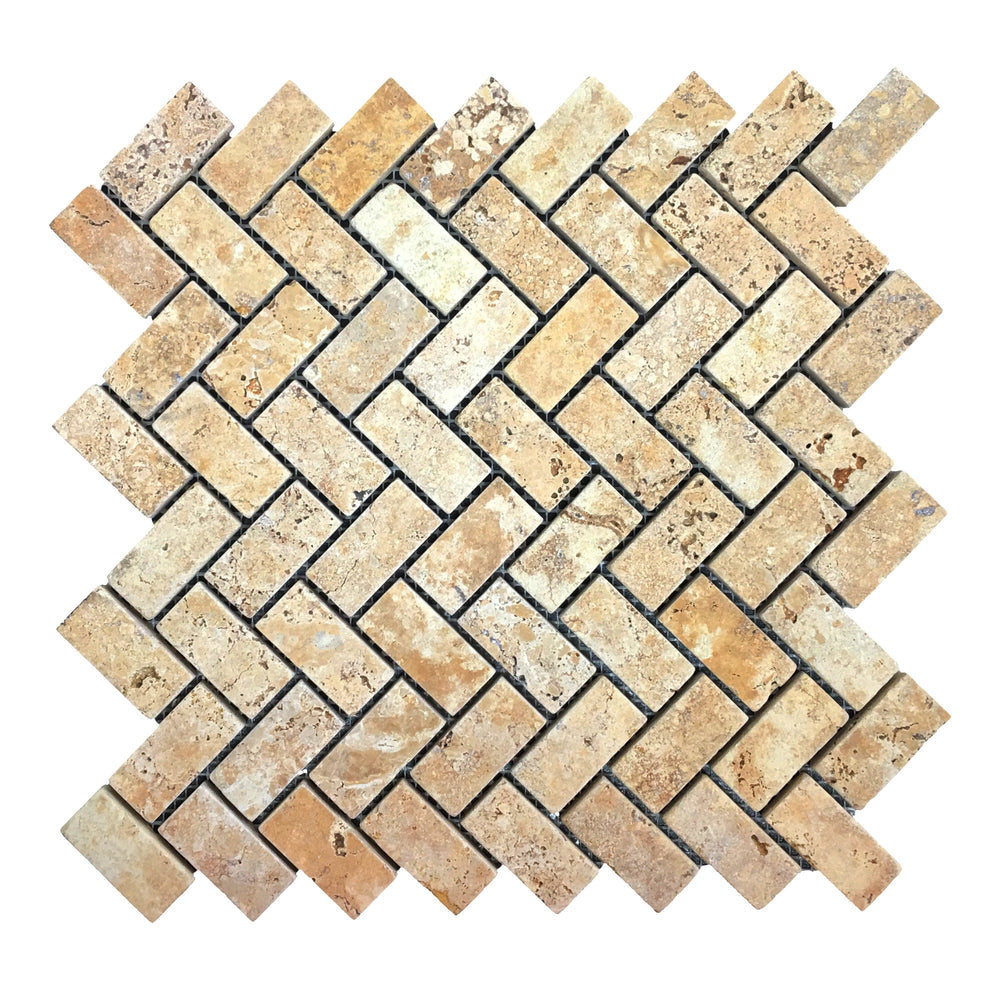 Travertiine Gold Herring Bone Mosaic