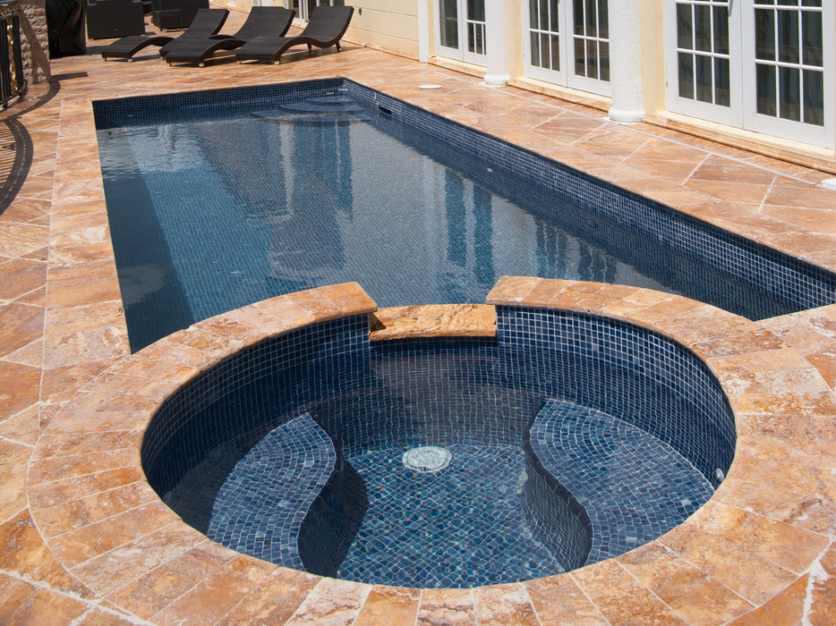 Gold Travertine Bullnose Coping Pool