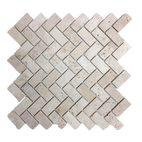 Travertine Ivory Herring Bone Mosaic