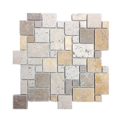 Travertine Mix Mini-Pattern Mosaics (Ivory/Gold/Noce)
