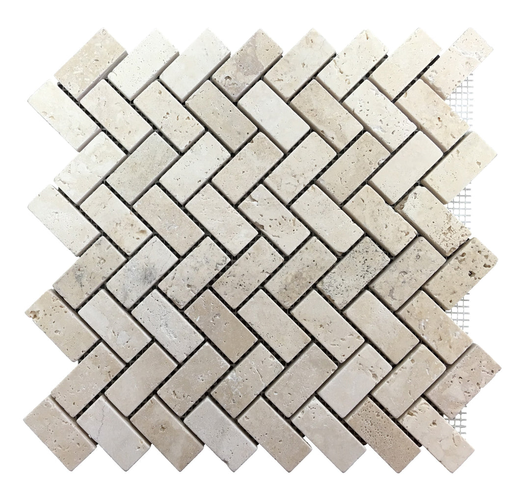 Ivory Travertine Herringbone Mosaic