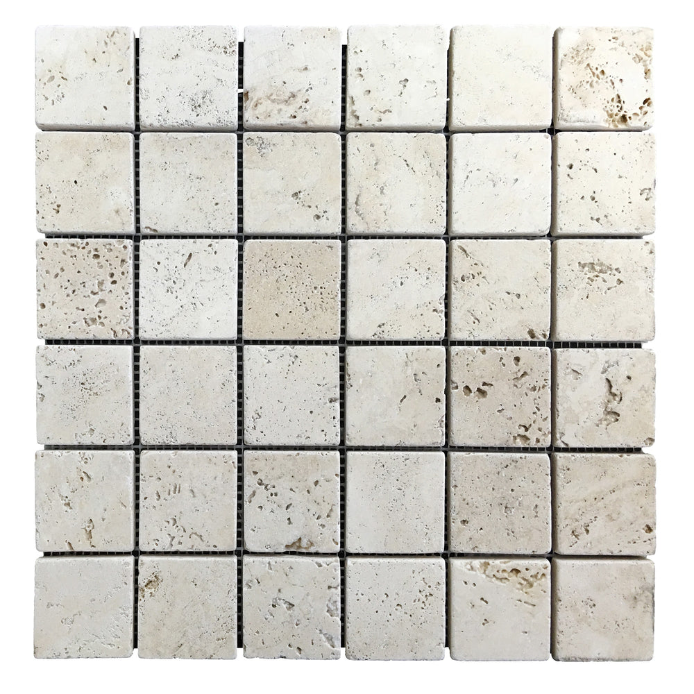 Travertine Ivory Mosaic Tiles 2x2