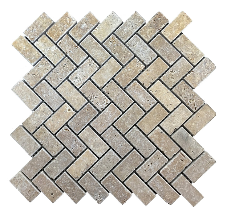 Travertine Noce Herring Bone Mosaic