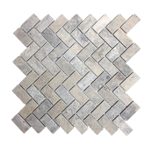 Silver Travertine Herring Bone Mosaic Tumbled