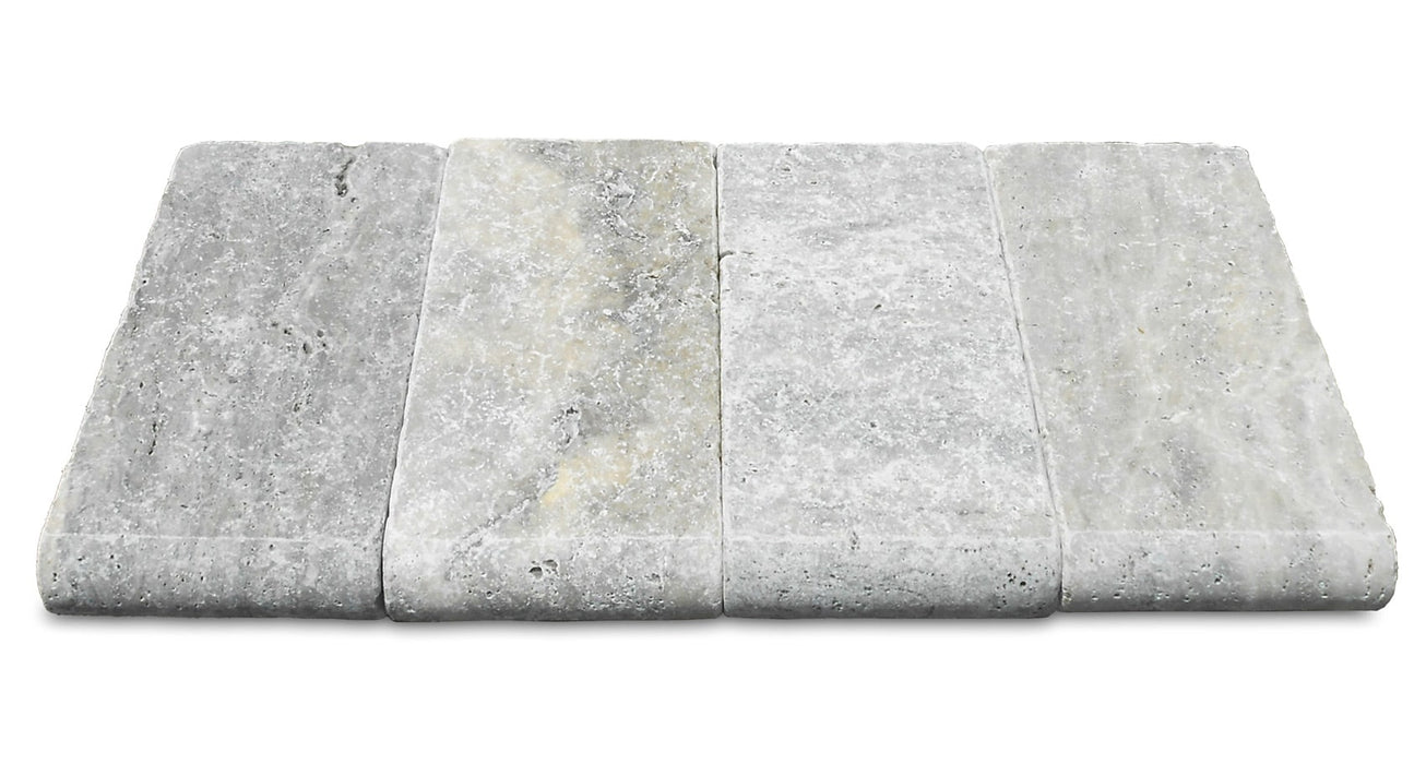 Silver Travertine Bullnose Coping 6x12