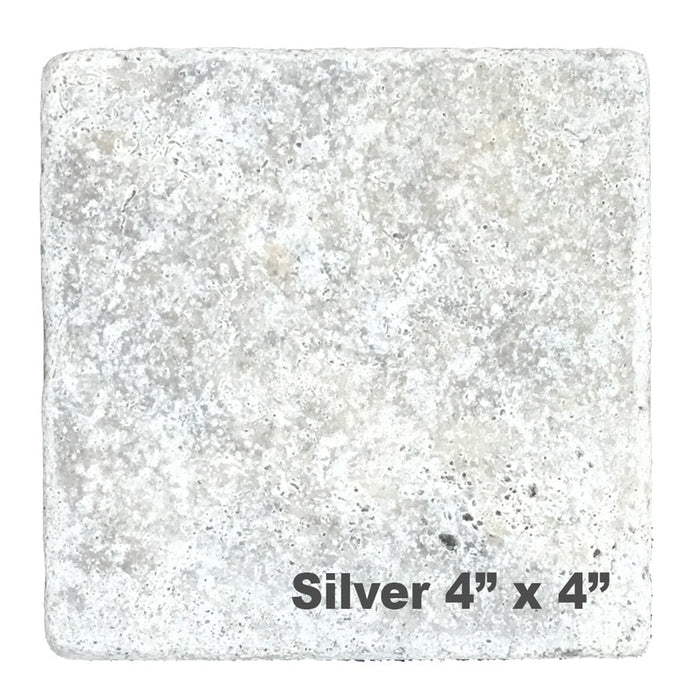 Silver Travertine Pool Tile 4x4