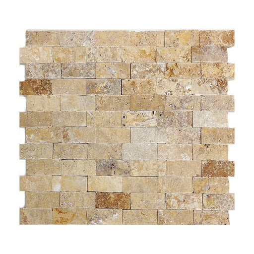 "Travertine Gold Split-Face 1"" x 2"" Mosaics"
