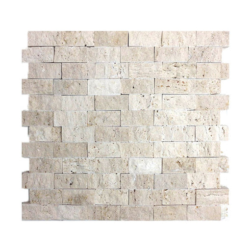 "Travertine Ivory Split-Face 1"" x 2"" Mosaics"