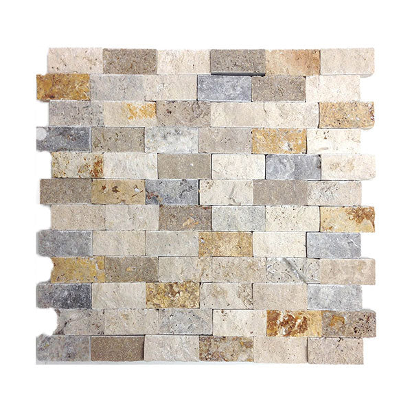 "Travertine Mix Split-Face 1"" x 2"" Mosaics (Ivory/Gold/Noce/Silver )"