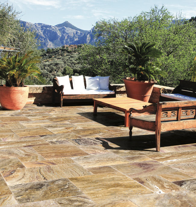 sefastone autumn blend travertine paver