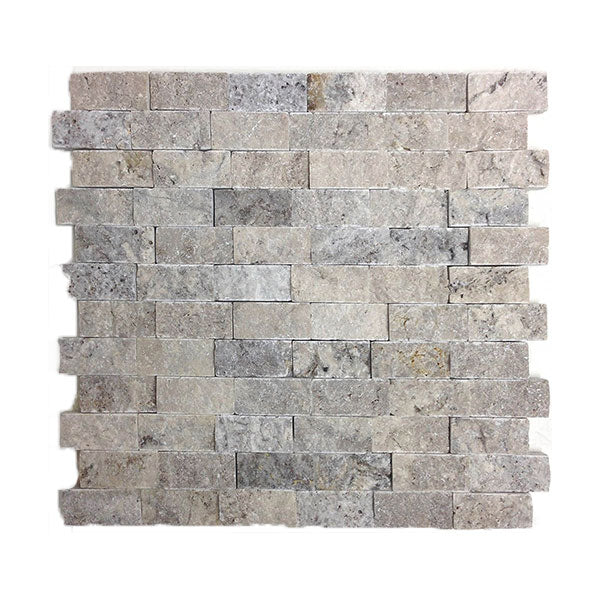 "Travertine Silver Split-Face 1x2"" Mosaics"