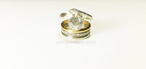 Sterling Silver Branch Twig Ring with 2 Carat Bezel Stone by Carolyn Nicole Designs