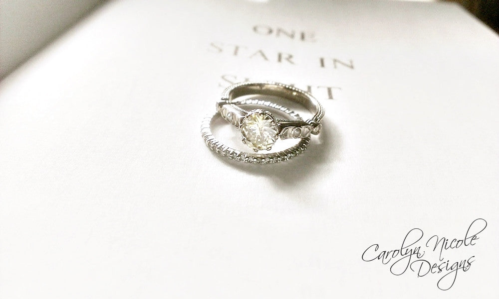 Antique Diamond and Pearl Engagement Ring by Carolyn Nicole Designs