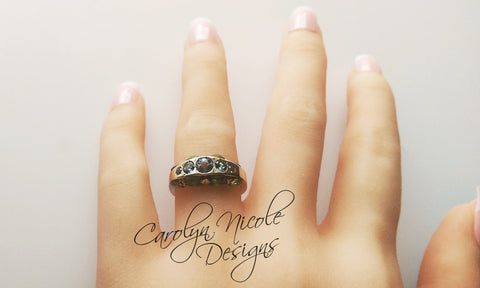 Aquamarine and Peridot Ring by Carolyn Nicole Designs