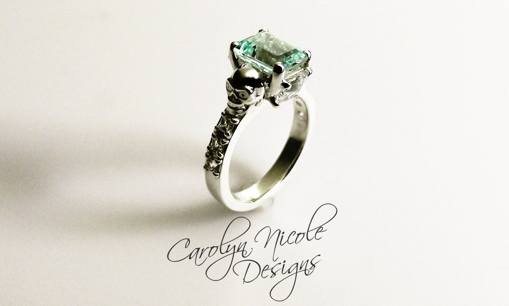 Aquamarine and White Sapphire Skull Ring by Carolyn Nicole Designs