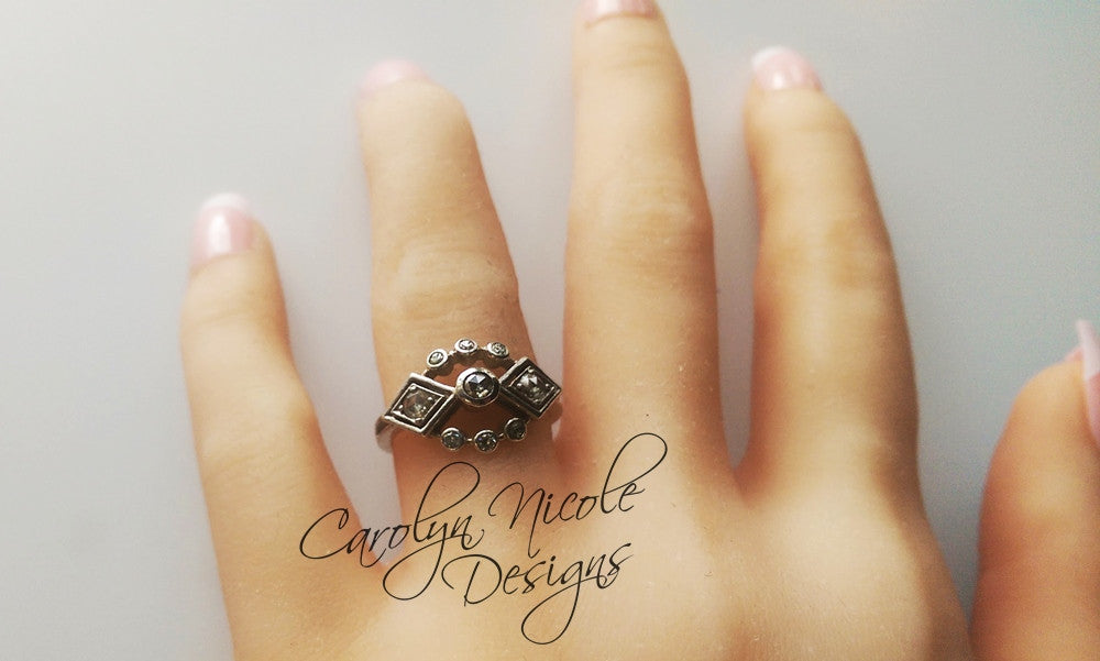 Art Deco Engagement Ring by Carolyn Nicole Designs
