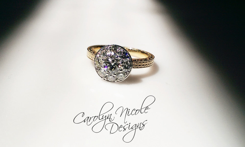 Cluster Bezel Engagement Ring by Carolyn Nicole Designs