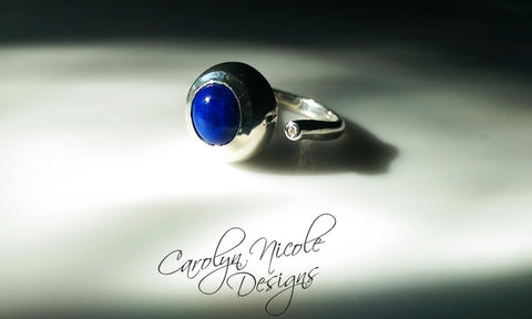 Two Stone Bezel Ring (Lapis and White Sapphire) by Carolyn Nicole Designs