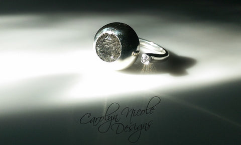 Two Stone Bezel Ring (Tourmalated Quartz and White Sapphire)