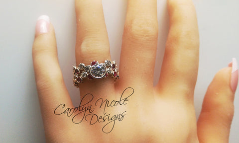 Sapphire and Ruby Bezel Prong Ring by Carolyn Nicole Designs