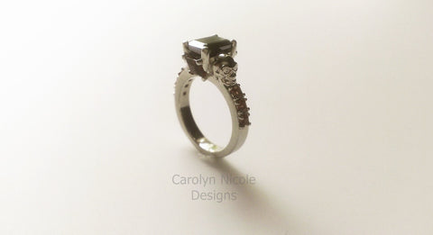 Black Onyx and Garnet Skull Engagement Ring by Carolyn Nicole Designs