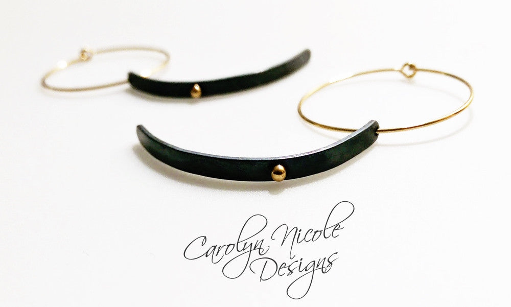 Black and Gold Dangle Hoop Earrings by Carolyn Nicole Designs