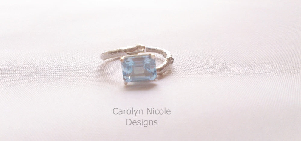 Aquamarine or Topaz Branch Ring by Carolyn Nicole Designs