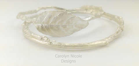 Sterling Silver Leaf and Branch Bangle Bracelets by Carolyn Nicole Designs
