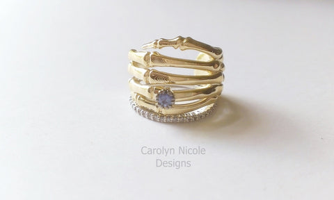 Ceylon Sapphire Skeleton Hand Promise Ring by Carolyn Nicole Designs