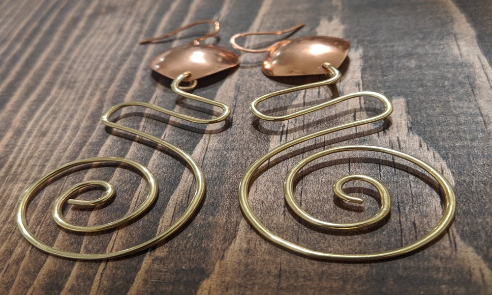 Venus Copper and Brass Earrings By Carolyn Nicole Designs