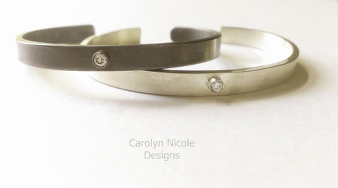 Diamond and Silver Cuff Bracelet by Carolyn Nicole Designs