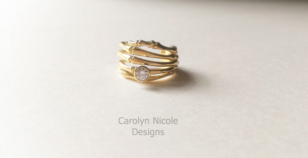 Diamond Skeleton Hand Ring by Carolyn Nicole Designs