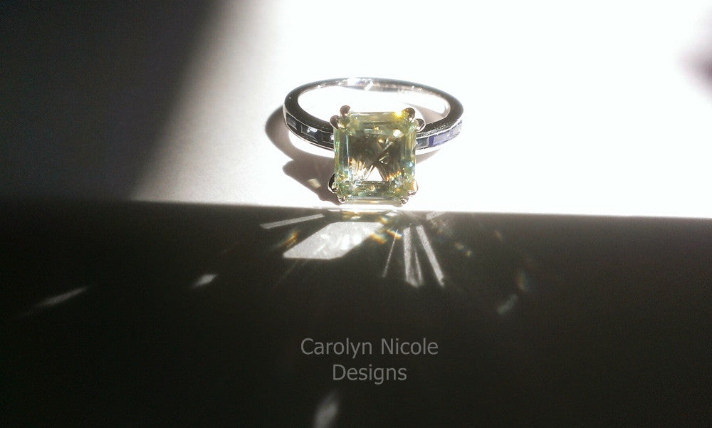 Emerald Cut and Sapphire Baguette Engagement Ring by Carolyn Nicole Designs