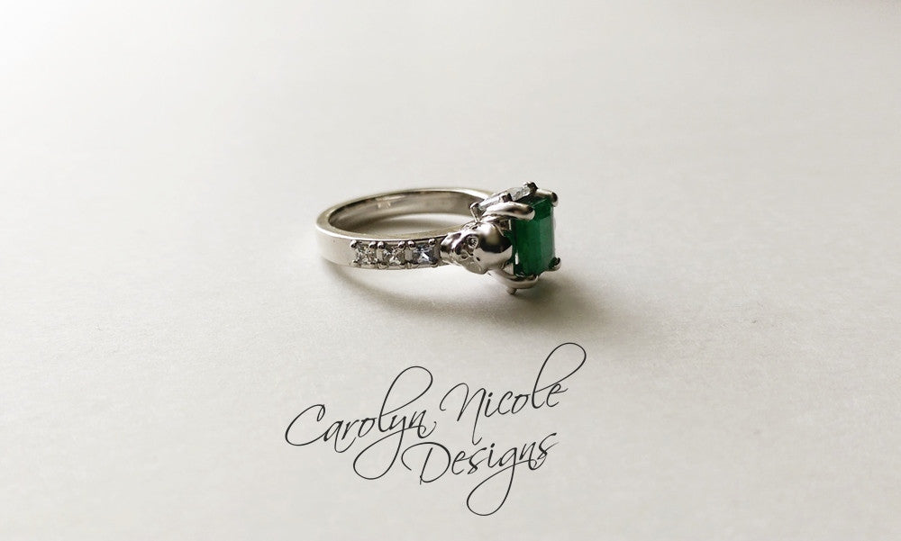Emerald and Sapphire Skull Engagement Ring by Carolyn Nicole Designs