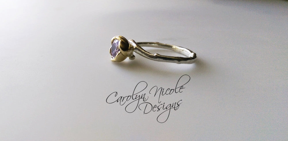 Flower Solitaire Engagement Ring by Carolyn Nicole Designs