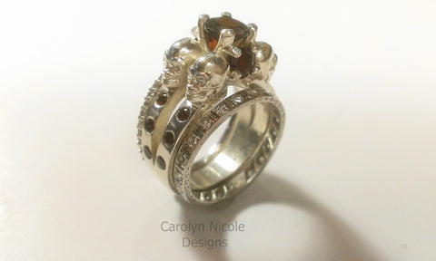 Garnet Skull Engagement Ring by Carolyn Nicole Designs