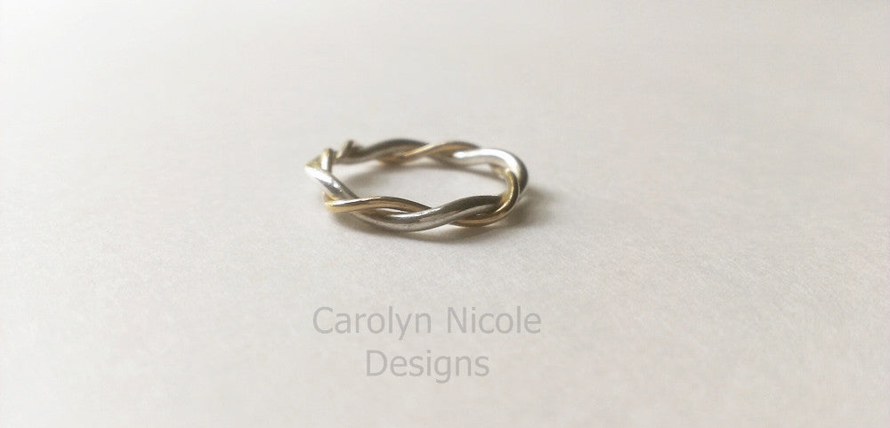 Gold and Silver Twist Ring by Carolyn Nicole Designs