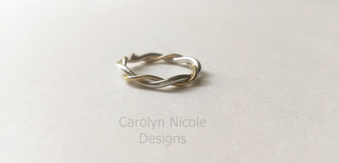 Twisted Gold and Silver Ring by Carolyn Nicole Designs