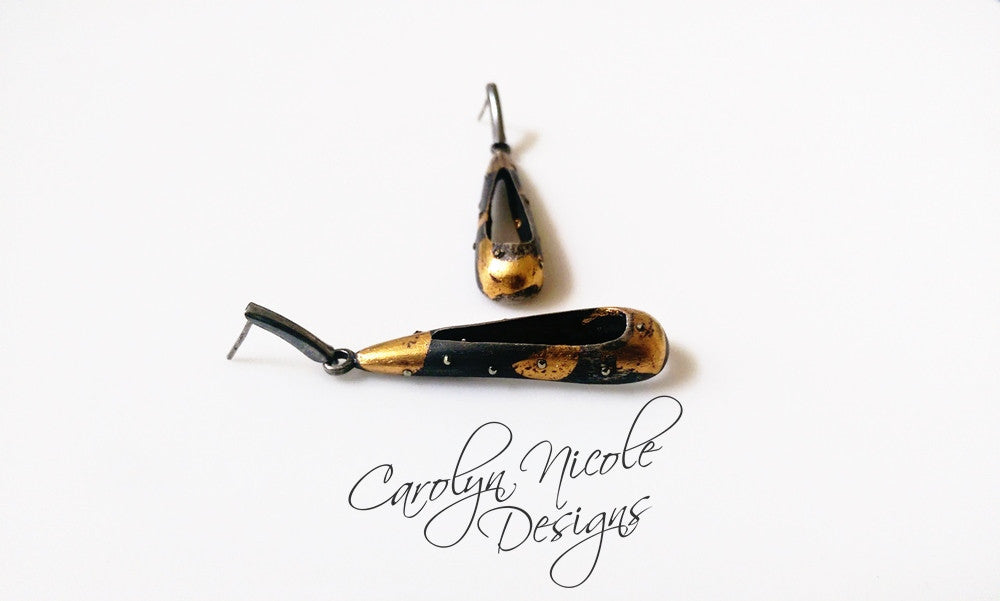 Black and Gold Keum Boo Earrings by Carolyn Nicole Designs