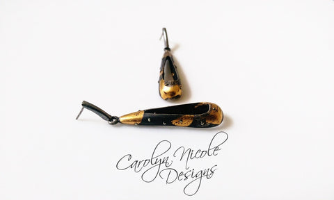 Black and Gold Dangle Earrings by Carolyn Nicole Designs