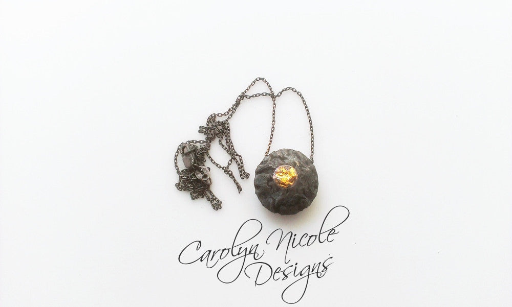 Black and Gold Keum Boo Necklace by Carolyn Nicole Designs