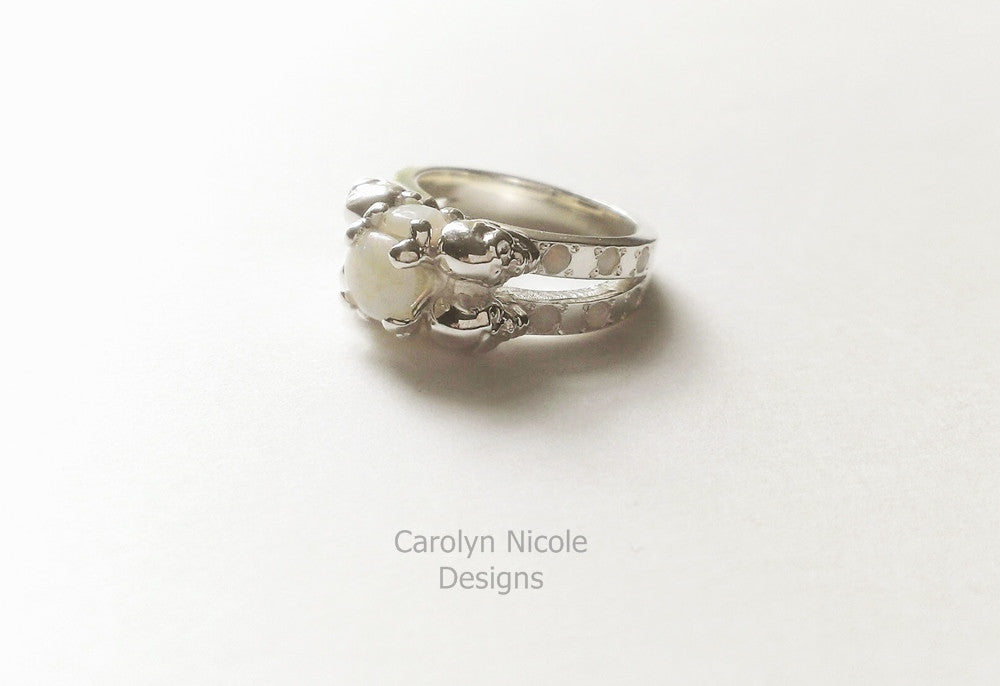 Opal Skull Engagement Ring by Carolyn Nicole Designs
