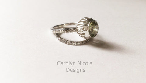 Open  Bezel Peridot and Diamond Engagement Ring by Carolyn Nicole Designs