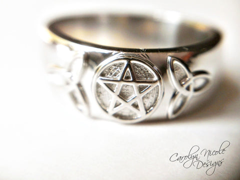 Pentagram Wedding Band Set by Carolyn Nicole Designs