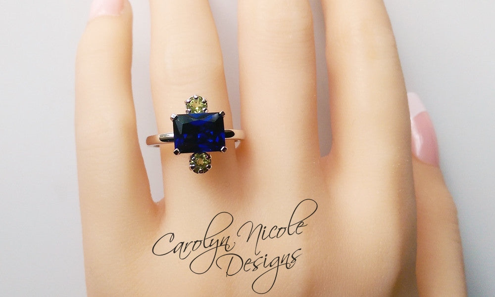 Sapphire and Peridot East West Ring by Carolyn Nicole Designs