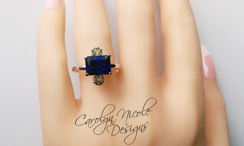 Blue Sapphire and Peridot East West Ring